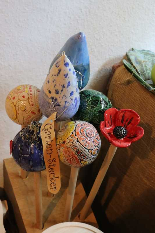 getöpferte Gartenstecker handmade